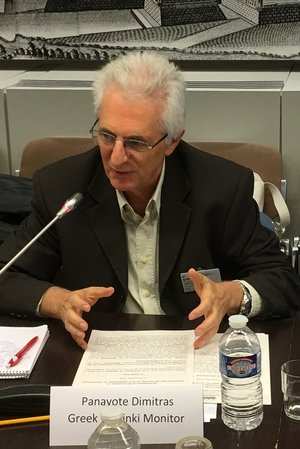 Panayote Dimitras from the Greek Helsinki Monitor on the Makaratzis group of cases. Photo: EIN